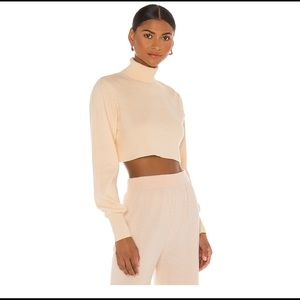 X REVOLVE Cropped Turtleneck in White Callahan